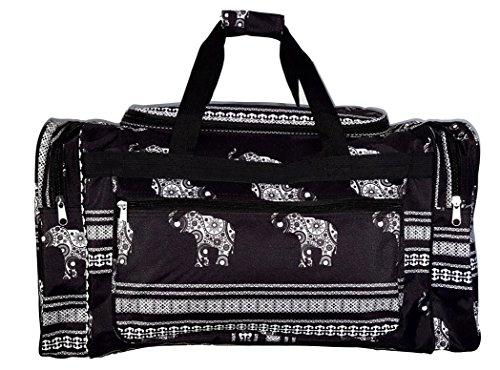 21 inch Fashion Print Gym Dance Cheer Travel Duffle Bag (Black Stripe Eleophant) by 101 BEACH