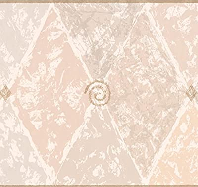 Beige Brown Wide Abstract Wallpaper Border Rhombus Geometric Design, Roll 15' x 10.5''