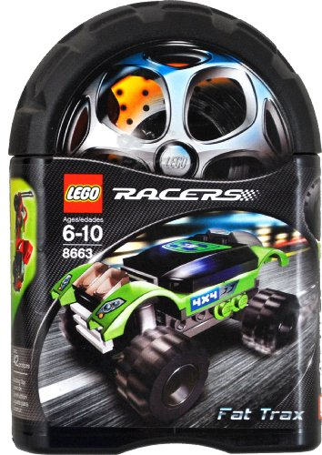 Lego Year 2006 Racers Series Tiny Turbos Car Set # 8663 - FAT TRAX (Total Pieces: 42)