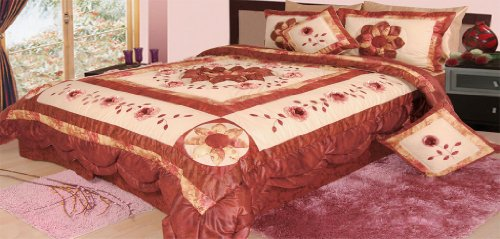 DaDa Bedding BM6109L Flower Polyester Patchwork 5-Piece Comforter Set, King, Burgundy (Comforters Flowered)