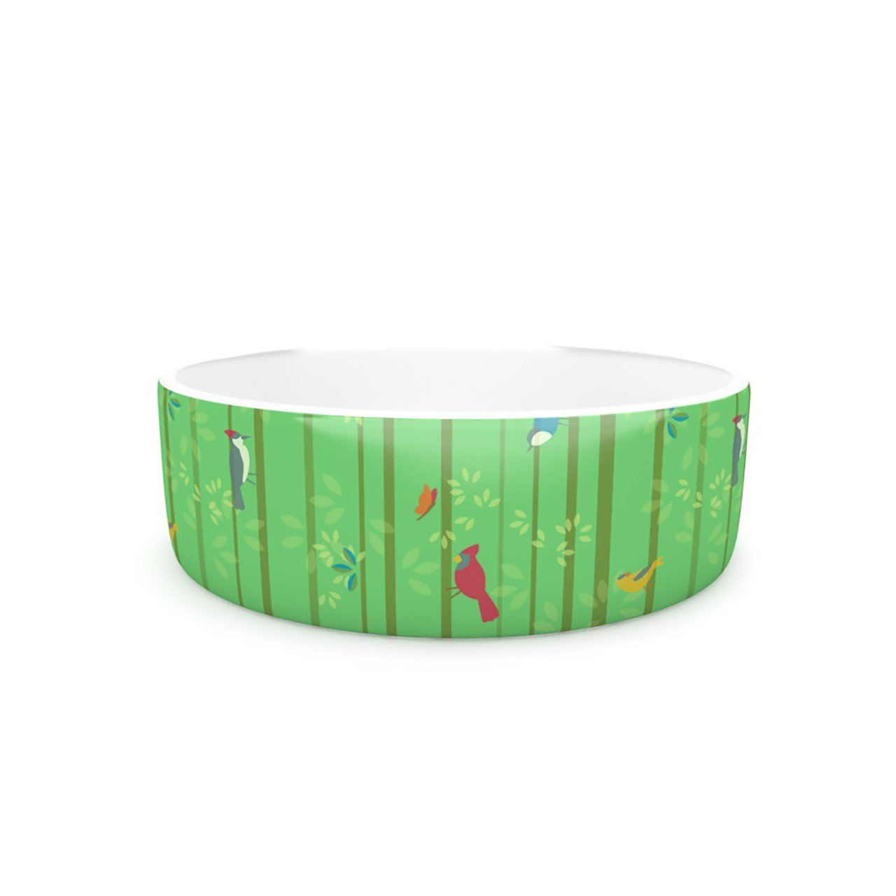 Kess InHouse Allison Beilke Hello Birdies  Pet Bowl, 7-Inch