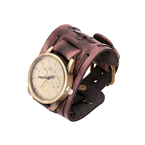 Womens Cuff Watch (Punk Watch For Men Women Antique Wide Belt Leather Wrap Bracelet Bangle Sexyinlife,Brown)