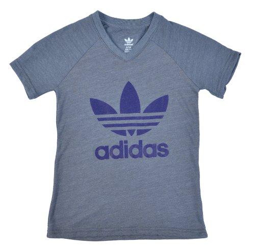Adidas Originals Big Boys (8-20) V-Neck Outerstuff T-Shirt-Gray-XS