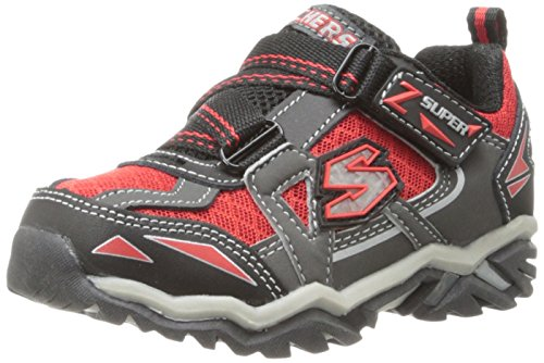 Footwear Hawk - Skechers Kids 90421L Pillar 2.0 - Hawk Light-Up Sneaker  (Little Kid),Black/Gray/Red,5 M US Toddler