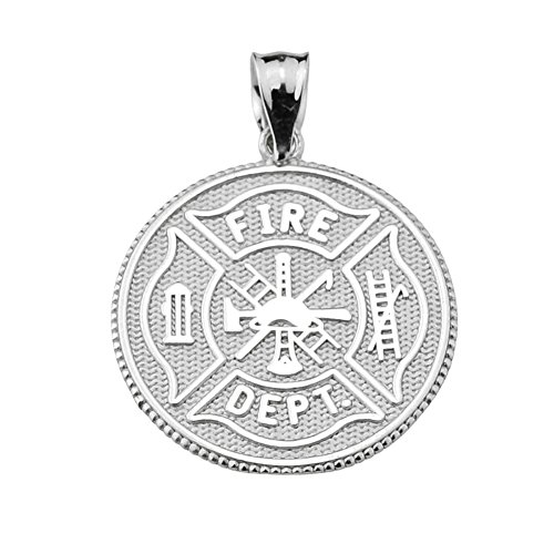 Firefighter Maltese Cross Sterling Silver with Prayer Blessing Pendant - Maltese Cross Medal