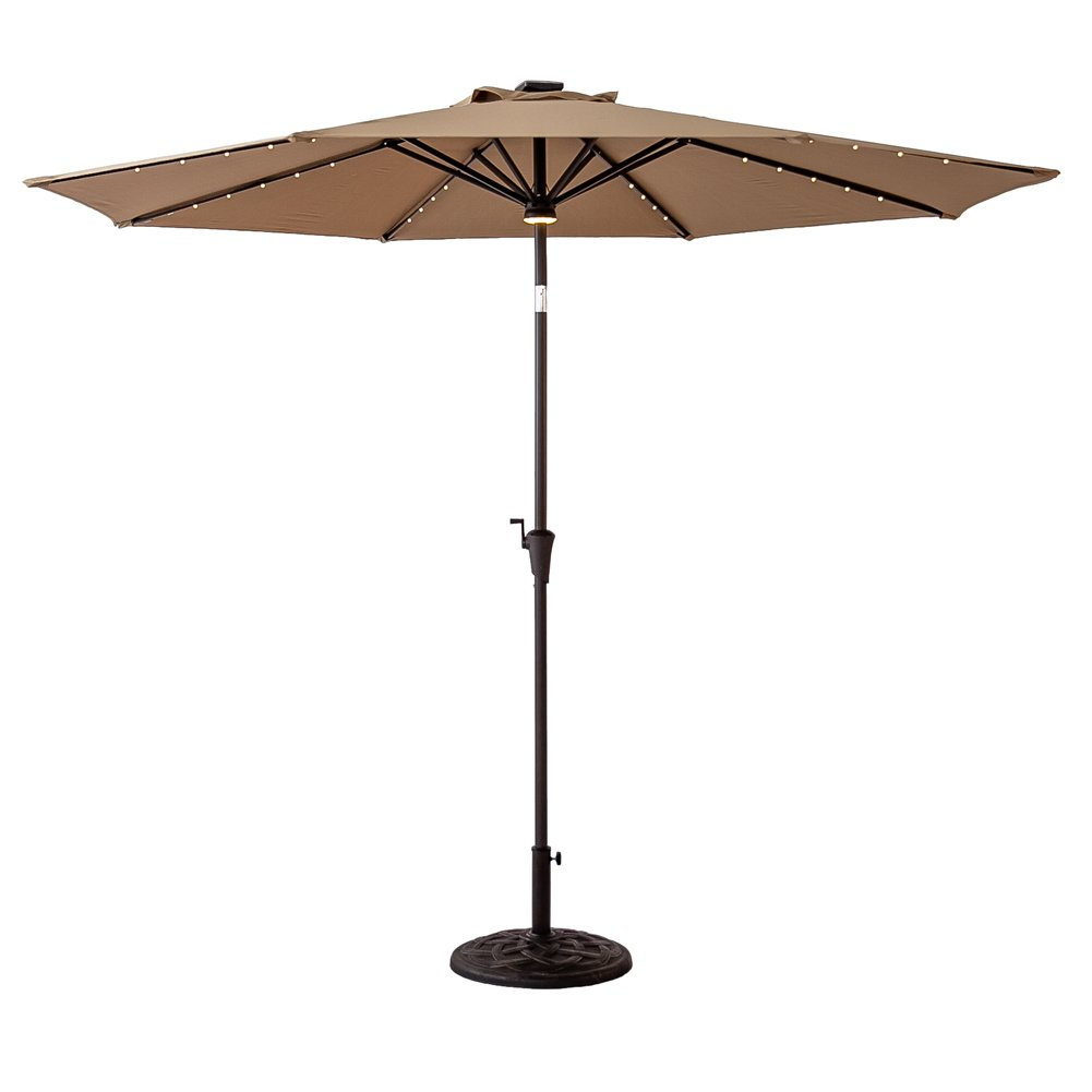 FLAME&SHADE 11ft Solar Power LED Light Outdoor Parasol Patio Market Umbrella with Crank Lift, Push Button Tilt, Beige