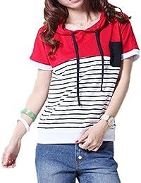 Women's Spring Summer Hoodie Sweatshirt Stripe Short Sleeve Pullover Hoodies