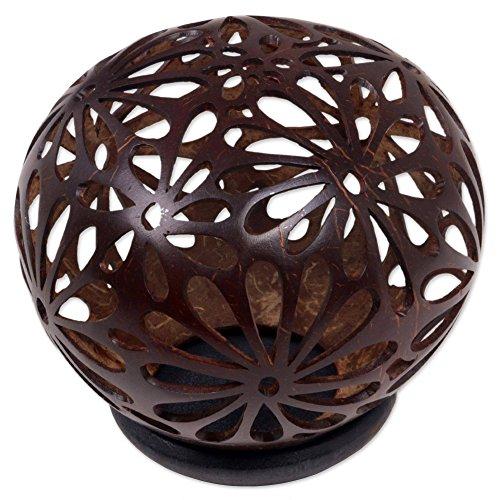 NOVICA Brown Floral Coconut Shell Sculpture, Sacred Melati'
