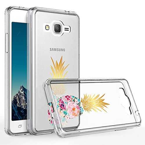Galaxy Grand Prime Case,Samsung Galaxy G530 Case,DOUJIAZ Slim Shockproof Clear Floral Pattern Soft Flexible TPU Back Cover for Samsung Galaxy G530 G530H G530F S920C((Pineapple flower))