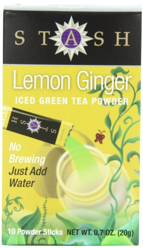 Stash Tea - Lemon Ginger Green Iced Tea Powder Sticks, (No Brewing, Just Add Water) Case of TWELVE Boxes with Each Box Containing 10 Powder Sticks, Each .7 oz (Pack of 12 Boxes for total of 120 Individual Powder Sticks)