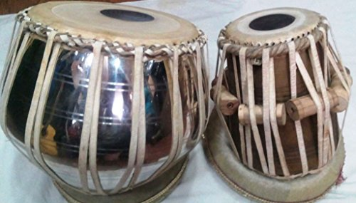 Handmade Brass with Nickle Polish Bayan and Sheesham Wood Dayan Tabla Drum Set By Best Indian Professionals with Base, Cover and Hammer- completely ha…