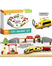 Wooden Train Set for Kids- Wooden Train Track & Trains- Fits Thomas, Brio, Chuggington, Melissa- Kids Friendly Building Toy for 3 4 5 6 Years Old Girls & Boys