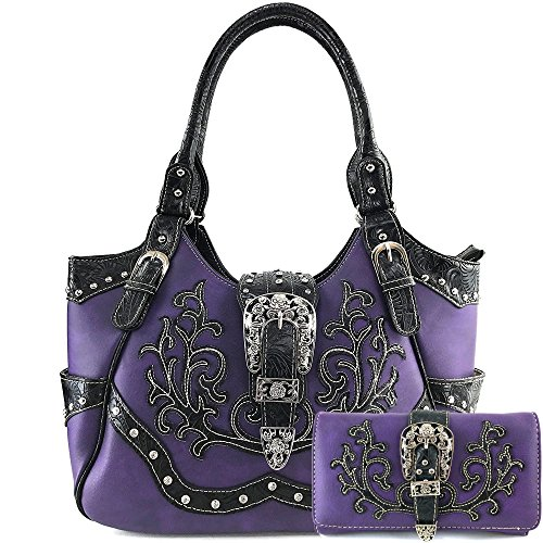 (Justin West Western Studded Rhinestone Buckle Laser Cut Studded Shoulder Tote Handbag Purse Wristlet Wallet (Purple Purse and Wallet Set))