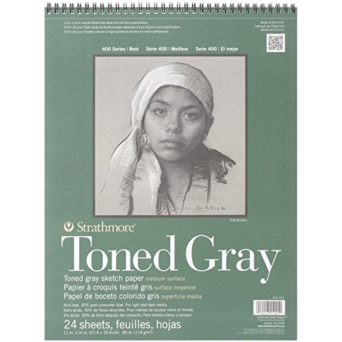 Strathmore 412-111 400 Series Toned Gray Sketch Pad, 11x14