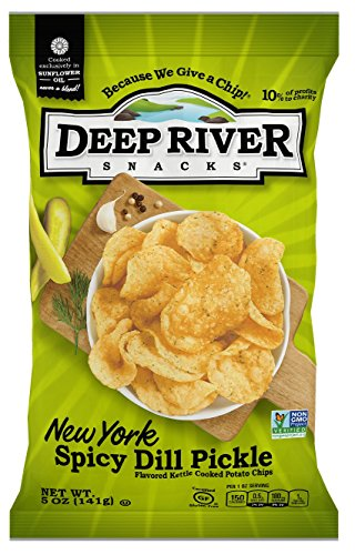 Dill Potato (Deep River Snacks New York Spicy Dill Pickle Kettle Cooked Potato Chips, 5-Ounce (Pack of 12))