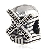 Choruslove Netherlands Windmill Charm Antique 925 Sterling Silver Bead for European Compatible Brand Bracelet