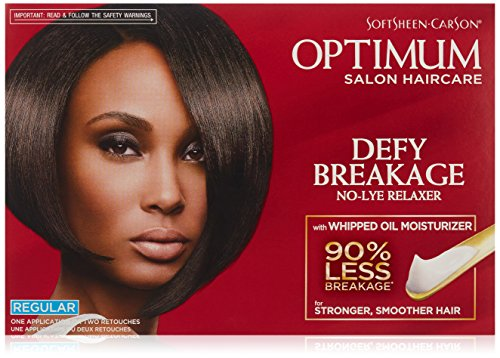 Optimum Care by SoftSheen Carson Care Defy Breakage No-lye Relaxer, Regular Strength for Normal Hair Textures, Optimum Salon Haircare, Hair Relaxer with Coconut Oil, 1 Kit (Best Hair Relaxer For Thick Hair)