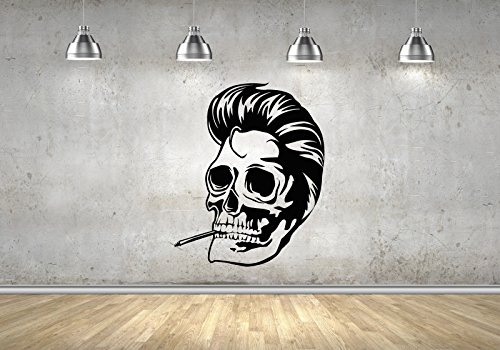 Rockabilly Skull Greaser Skeleton Smoke Horror Pompadour Decor Wall Decals Stickers M0044 (Black Men With Pompadour)