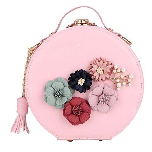 2018 Pequeño Bolso De Moda Redondo Bolso De Hombro De La Flor Messenger Bag Mini Estereotipos Bolso Borla Embrague Pink