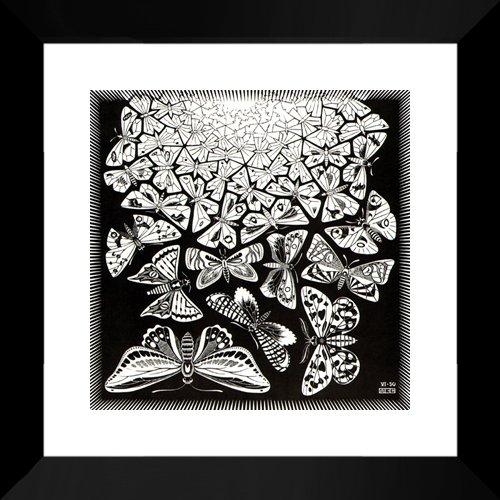 Butterflies 20x20 Framed Art Print by M.C. Escher (Mc Escher Poster)