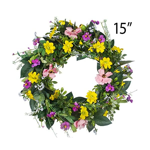 GameXcel Door Wreath for Fall – 15In Daisy Summer Wreath Front Door Wreath Artificial Floral Wreaths Indoor Natural Vine Flowers Wreaths Home Decor for Window, Outdoor, Wedding?All Seanson