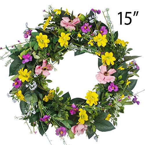 GameXcel Door Wreath for Summer - 15In Daisy Spring Wreath Front Door Wreath Artificial Floral Wreaths Indoor Natural Vine Flowers Wreaths Home Decor for Window, Outdoor, Wedding£¬All Seanson