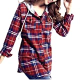 SODIAL(R) Woman Flap Patch Pockets Hooded Plaid Shirt Top Red S