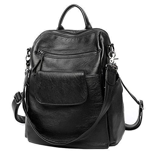 (Women Backpack Purse PU Washed Leather Large Capacity Ladies Rucksack Shoulder Bag (Black 3) )