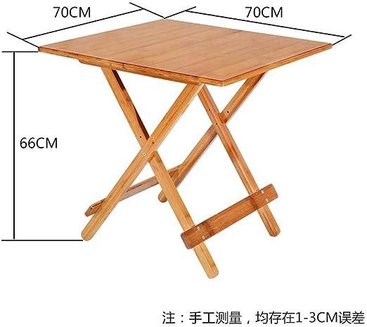 DX Mesa Plegable Bambú Plegable hogar Mesa Cuadrada Exterior de ...