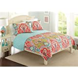 Better Homes And Gardens Beautiful Jeweled Damask Bedding Quilt Collection,  Orange, Multiple Sizes Available
