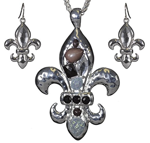 Jewelry Nexus Silver-tone Hammered Fleur De Lis Epoxy Stone & Crystal Necklace & Earring Set