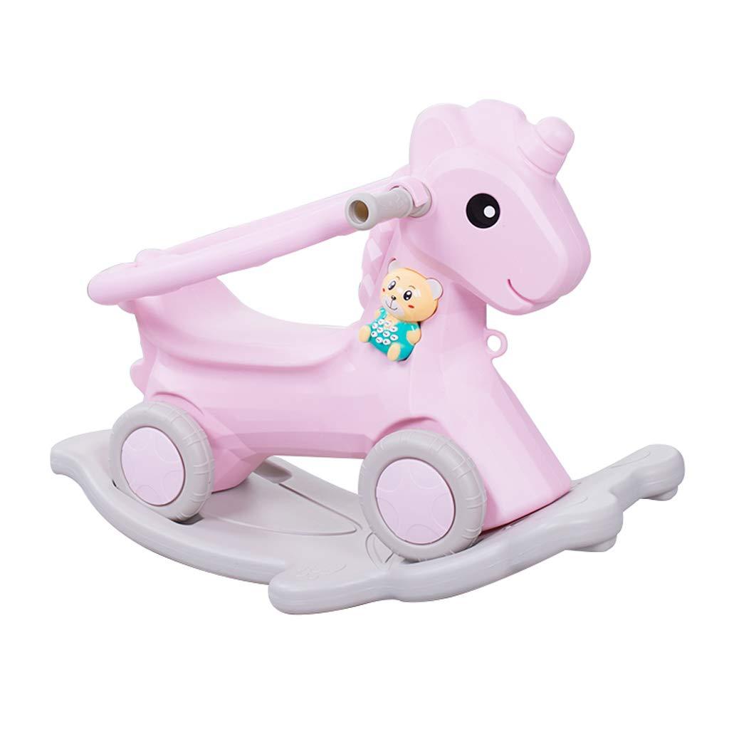 Cavalli a dondolo FJH Bambino a Dondolo per Bambini in plastica per Bambini con Imbottitura Musicale per Bambini Sedia a Dondolo per Bambini a Doppio Uso 60  45 cm ( Colore   rosa )