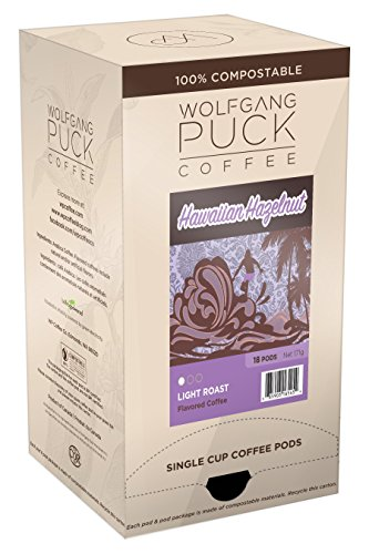 Hazelnut Coffee Hawaiian Flavored - Wolfgang Puck Coffee, Hawaiian Hazelnut Flavored, 9.5 Gram Pods, 18-Count (Pack of 3)