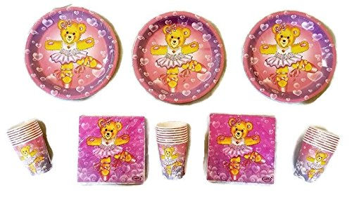 Celebrate!!!! Dancing Teddy Bear Party Package Plates (24) Napkins (32) Cups (18) -