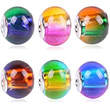 RUBYCA Mix Rainbow Gradient Murano Glass Beads European Charm Bracelet Spacer DIY Silver Color 30pcs