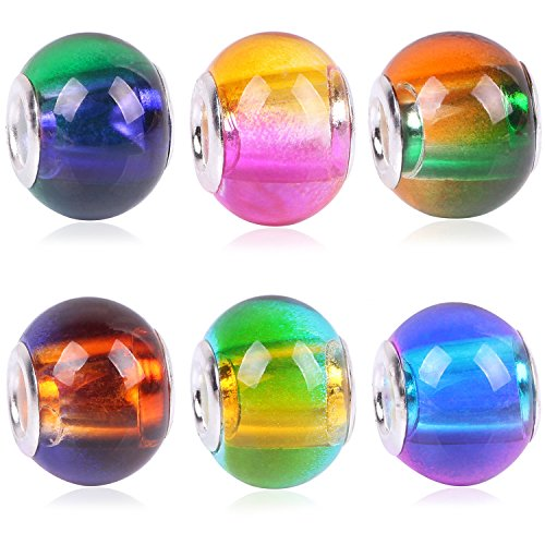 RUBYCA Mix Rainbow Gradient Murano Glass Beads European Charm Bracelet Spacer DIY Silver Color - 15 Beads Handmade Lampwork