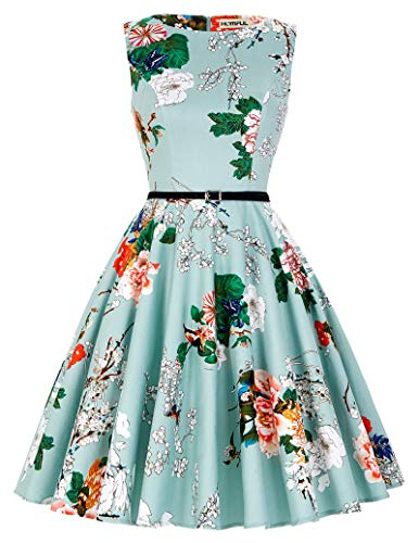 HOMFUL Vintage Dress, Sleeveless Vintage Tea Dress with Belt,Half-Length Retro Floral Vintage Dress Audrey Hepburn Style, New for 2019 (Green Floral, M)