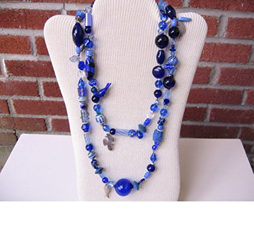 Rhapsody in Blue--A Vintage Funky Long Necklace