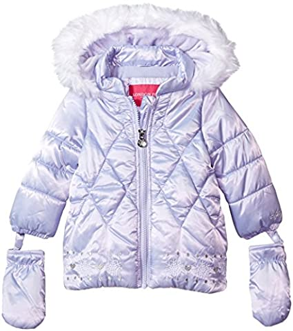 London Fog Baby Girls Satin Quilted Puffer Coat with Cozy Trim Hood, Lavender, 12M - Satin Puffer