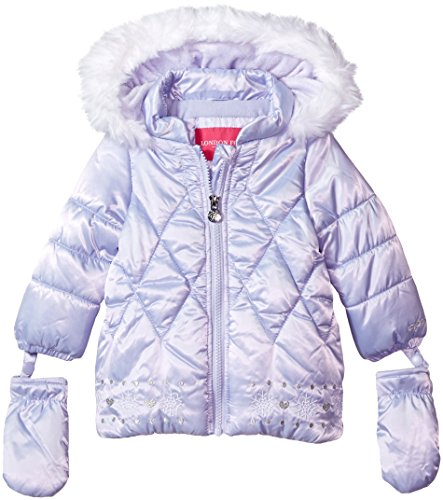 London Fog Baby Girls Satin Quilted Puffer Coat with Cozy Trim Hood, Lavender, 18M