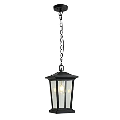 Outdoor Pendant Lighting, 1-Light Outdoor Hanging Lantern, Farmhouse Style Exterior Porch Lights in ORB Finish with Clear Glass, 60W