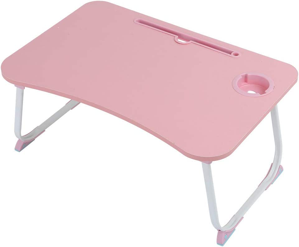 Laptop Table for Bed and Sofa, Multifunction Lazy Laptop Desk Foldable Breakfast Dining Table Portable Bed Tray, Folding Dormitory Table Notebook Stand Reading Holder (Pink)