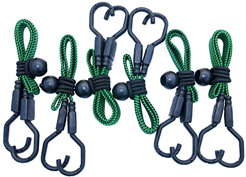 HeavyWeight Flat Bungee Cords 6 PACK with BONUS 6 Ball Bungees | 24