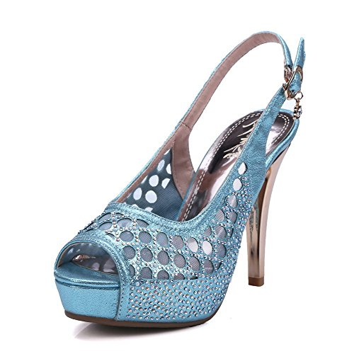 Amoonyfashion Womens Buckle High Heels Pu Solid Peep Toe Sandalen Blauw