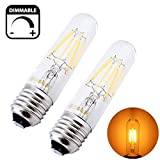 Bonlux Dimmable T10 LED Filament Bulb, 6 Watts Medium Screw Base E26/E27 Vintage Retro Edison Style Tubular Light - T10 Incandescent Bulb Replacement (2, 6W Warm White)