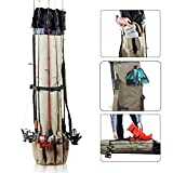 KLEEGER Fishing Rod Holder Organizer Kit: Fits Up To 5 Fishing Poles, Includes Shoulder Strap, Side Pocket With Buckle For Extra Gear