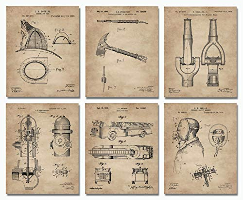 "Firefighter Patent Print Set of 6 (8""x10"") - Wall Art Decor - Gift Idea for Firemen First Responders"