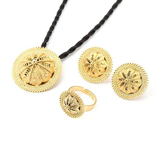 Habesha Jewelry Set Ethiopian Bridal Wedding 18k Gold Plated African 3pcs set Nigeria Eritrea Jewelry ()