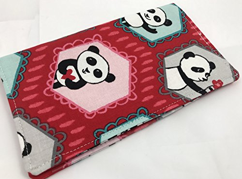 Duplicate Checkbook Cover Register with Pen Holder - Panda Love Main Red - Panda Checkbook Cover