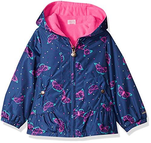 London Fog Girls' Toddler Reversible Sensible & Soft Jacket Coat, Navy Butterfly, 2T